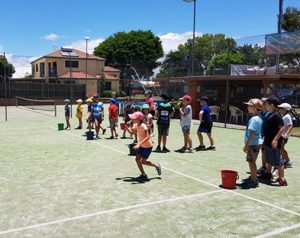 Tennis camp during school holidays with over 30 kids